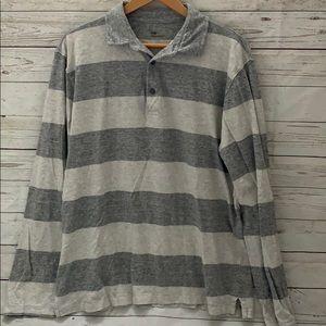 Men's gap long sleeve grey stripe shirt